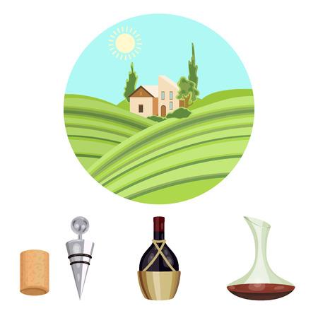Uma garrafa de vinho em uma cesta, um gafine, um saca-rolhas com uma cortiça, um vale de uva. Os ícones ajustados da coleção da produção de vinho no estilo dos desenhos animados vector a ilustração conservada em estoque do símbolo Foto de archivo - 85719343