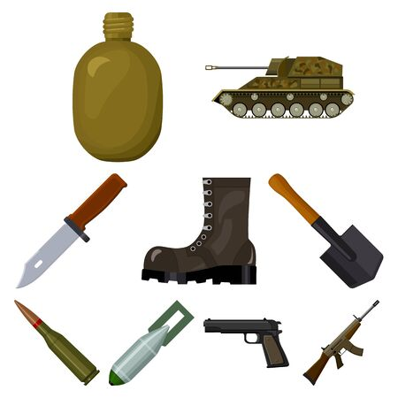 cartoon bomb: Military and army set icons in cartoon design. Big collection of military and army vector symbol stock illustration