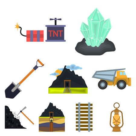 鉱山は漫画のスタイルでアイコンを設定します。鉱山ベクターシンボルストックのビッグコレクション
