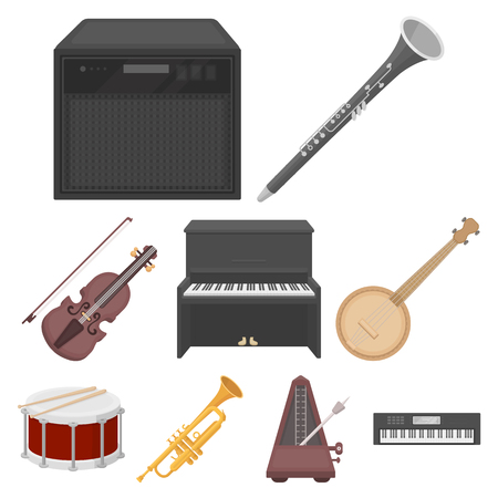 metronome: Musical instruments set icons in cartoon style. Big collection of musical instruments vector symbol stock Illustration