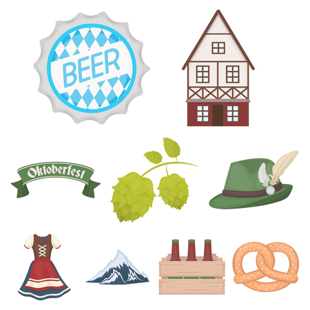 house logo: Oktoberfest set icons in cartoon style. Big collection of Oktoberfest vector symbol stock. Illustration