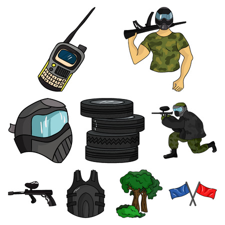A collection of pictures about the game in paintball. The balloons with paint.Paintball icon in set collection on cartoon style vector symbol stock web illustration. Illustration