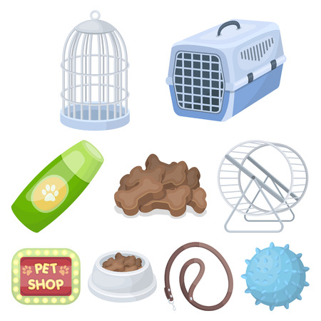 carding: Collar, pet food and other products. Pet shop set collection icons in cartoon style vector symbol stock illustration.