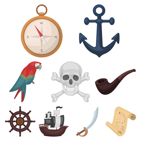 Pirates set icons in cartoon design. Big collection of pirates vector symbol stock illustration.