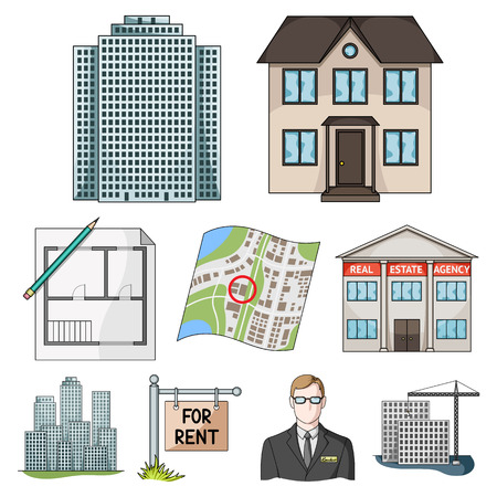 Real estate agency and other attributes. Realtor set collection icons in cartoon style vector symbol stock illustration . Illustration