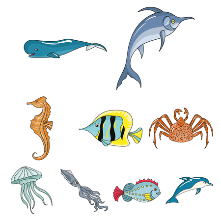 Marine and river inhabitants. Fish, whales, octopuses.Sea animals icon in set collection on cartoon style vector symbol stock web illustration. Stok Fotoğraf - 85718052