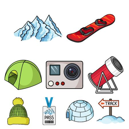 Ski resort set icons in cartoon style. Big collection of ski resort vector symbol stock illustration