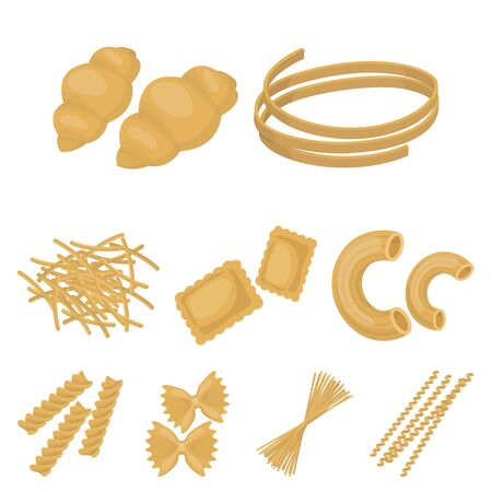 Types of pasta set icons in cartoon design. Big collection of types of pasta vector symbol stock illustration