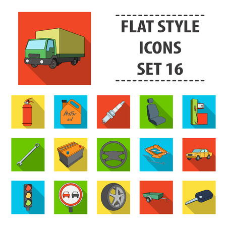 motor car candles: Wheel, wrench, jack and other equipment. Car set collection icons in flat style vector symbol stock illustration .