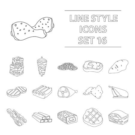 Carnes conjunto de iconos en estilo de esquema. Gran colección de vector de carnes símbolo de la ilustración Ilustración de vector
