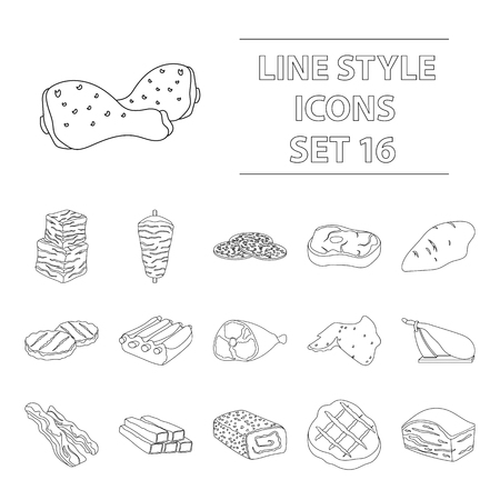 patties: Meats set icons in outline style. Big collection of meats vector symbol stock illustration Illustration