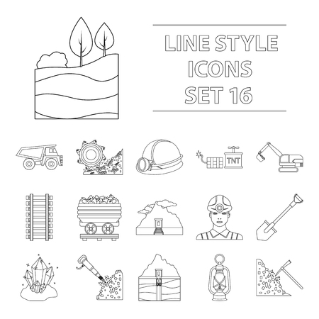 Mine set icons in outline style. Big collection of mine vector illustration symbol.
