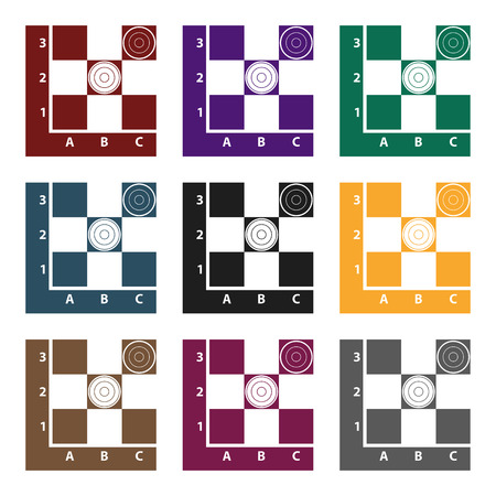 Checkers icon in black style isolated on white background. Board games symbol vector illustration. Çizim