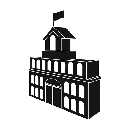 The building of the town hall. City Hall Building single icon in black style vector symbol stock illustration web.