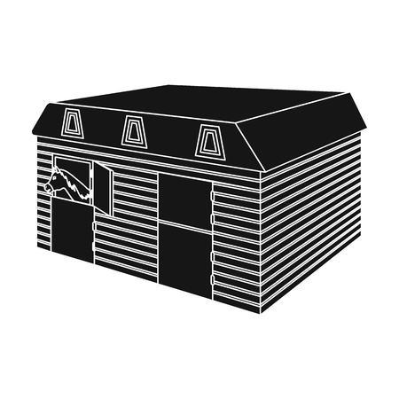 The stable building at the racetrack. Stable room single icon in black style vector symbol stock illustration web. Иллюстрация