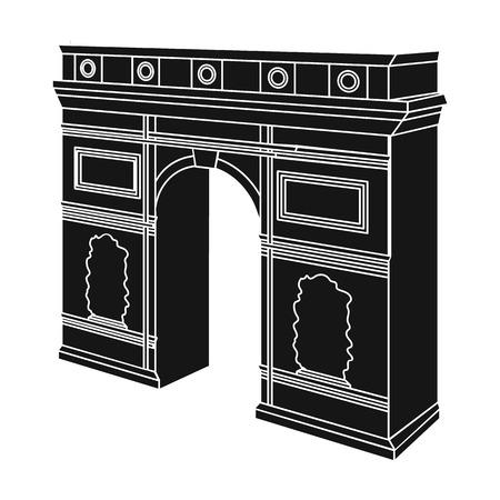 パリの凱旋門。ブラックスタイルベクターシンボルストックイラストのアーチの建物の単一のアイコン。 写真素材 - 85720157