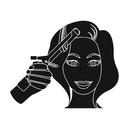 Hair curling in the hairdresser. Stock Vector - 85720258