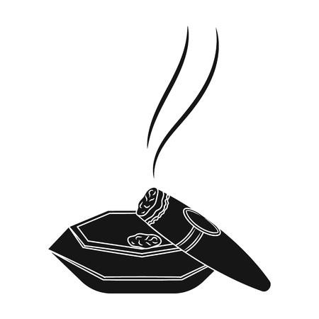 A smoking cigar in an ashtray. Illustration