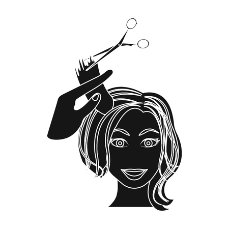 Hair cutting with scissors. Womens haircut single icon in black style vector symbol stock illustration .