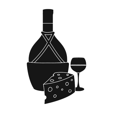 A bottle of alcohol, wine in a glass and cheese. Alcohol single icon in black style vector symbol stock illustration . Stock Vector - 85720631