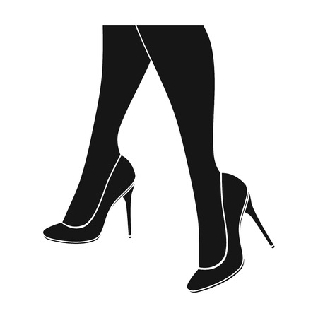 heelpiece: Female feet in heels. Womens shoes single icon in black style vector symbol stock illustration .