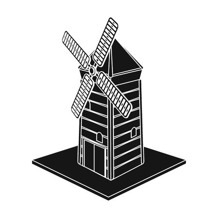 Windmill single icon in black style. Illustration