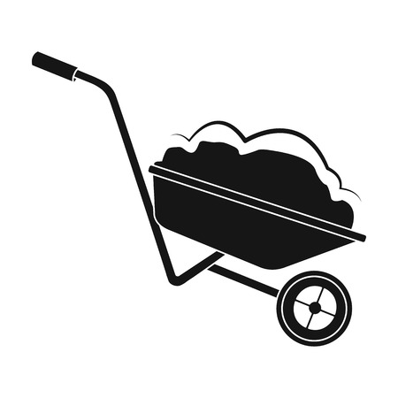 Wheelbarrow single icon in black style. Illustration