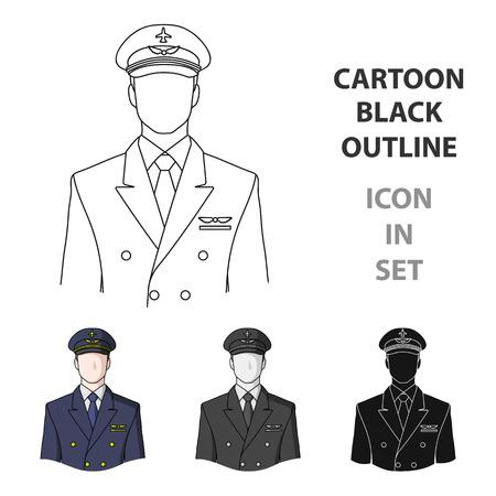 Solo icono de las profesiones piloto en estilo de dibujos animados vector símbolo stock de ilustración.