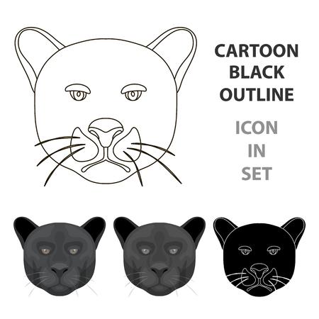 Icono De Pantera Negro En Estilo De Dibujos Animados Aislado Sobre ...