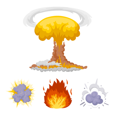 Explosions set collection and flame icons in cartoon style vector illustration web.