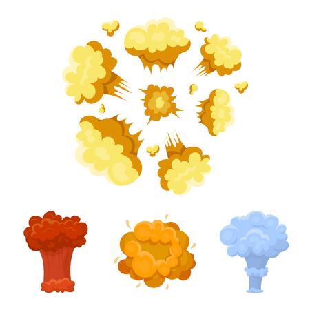 폭발 만화 스타일 벡터 일러스트 웹에서 컬렉션 아이콘을 설정합니다.