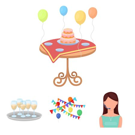 champagne celebration: Garland with flags and balls, leading celebration with a microphone, a tray with glasses with champagne, a table covered with a tablecloth with plates, cake and balls. Event services set collection icons in cartoon style vector symbol stock illustration w