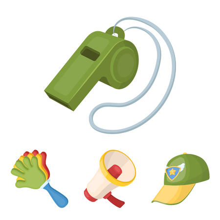Megaphone, whistle and other attributes of the fans. Fans set collection icons in cartoon style vector symbol stock illustration web.