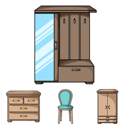 Furniture and home interior set collection icons in cartoon style vector symbol stock illustration web. Illustration