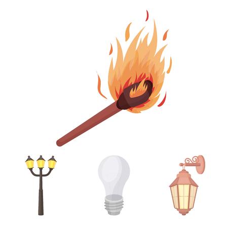 Source lumineuse définie des icônes de collection en web de bande dessinée style vector illustration.