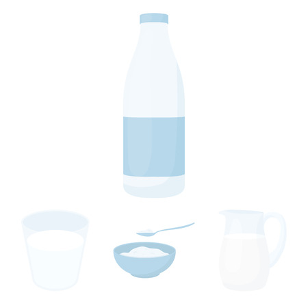 cottage cheese: Bowl of cottage cheese, a glass, a bottle of kefir, a jug. Moloko set collection icons in cartoon style vector symbol stock illustration web. Illustration