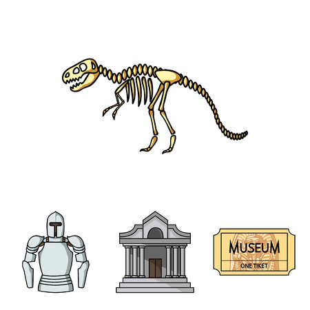 Picture, sarcophagus of the pharaoh, walkie-talkie, crown. Museum set collection icons in cartoon style vector symbol stock illustration web. Illustration