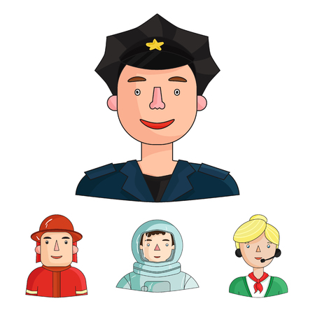 Set of people with different professions in cartoon illustration; An astronaut in a spacesuit, a co-worker with a microphone, a fireman in a helmet, a policeman with a badge on his cap.