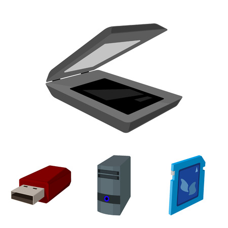 A system unit, a flash drive, a scanner and a SD card; Personal computer set collection icons in cartoon style illustration . Illustration