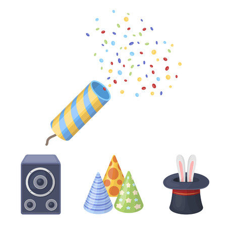 lapin: Tricks, music and other accessories at the party.Party and partits set collection icons in cartoon style vector symbol stock illustration web.