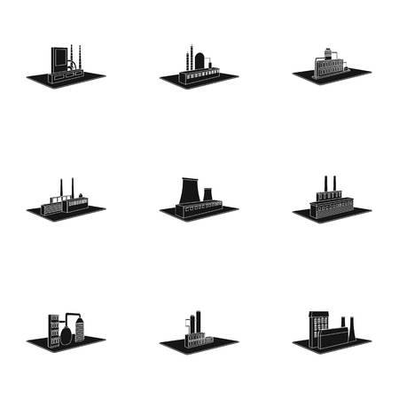 Fabrieks-en industrie-set verzameling iconen in zwarte stijl