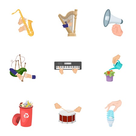 Musical instrument, garbage and ecology, electric appliance and other  icon in cartoon style. Illustration