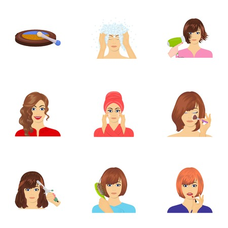 brown haired girl: Means, hygiene, cosmetology and other web icon in cartoon style.Hairdresser, cosmetic, salon icons in set collection.