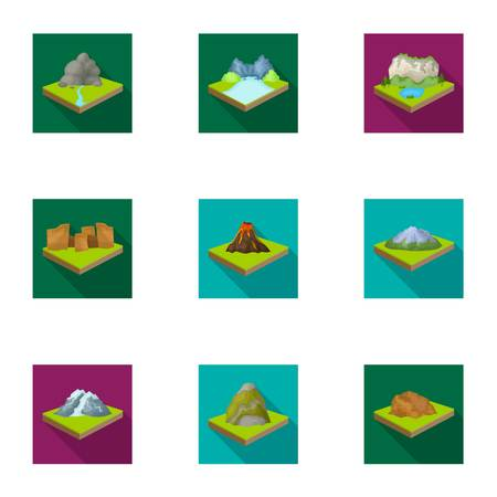 relievo: Mountains, rocks, lighthouse, volcano and other land reliefs. Mountains and landscapes set collection icons in flat style isometric vector symbol stock illustration web. Illustration