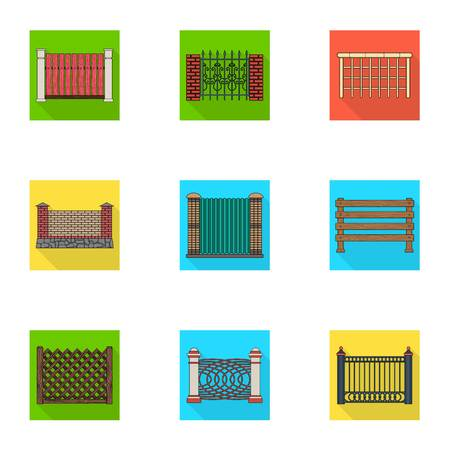 A fence of metal and bricks,wooden palisade and other varieties. A different fence set collection icons in flat style vector symbol stock illustration web. Illustration