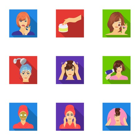 brown haired girl: Means, hygiene, cosmetology and other web icon in flat style.Hairdresser, cosmetic, salon icons in set collection. Illustration