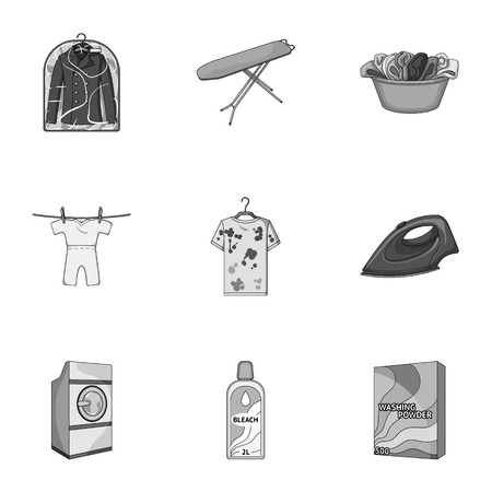 house logo: Washing machine, powder, iron and other equipment. Dry cleaning set collection icons in monochrome style vector symbol stock illustration web.
