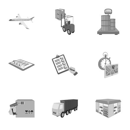 Forklift, cargo plane, goods, documents and other items in the delivery and transportation. Logistics and delivery set collection icons in monochrome style isometric vector symbol stock illustration web. Illustration