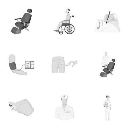 Injured in a stroller, blood transfusion, blood sugar test, doctor, medical staff. Medicine set collection icons in monochrome style vector symbol stock illustration web. Illustration