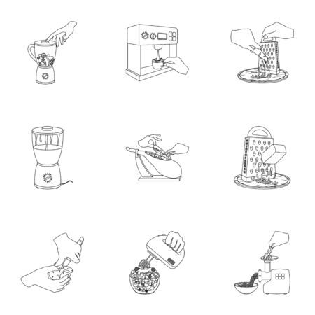 equipment, appliance, kitchen and other web icon in outline style. piece, Smoked meat, delicacy icons in set collection. Çizim